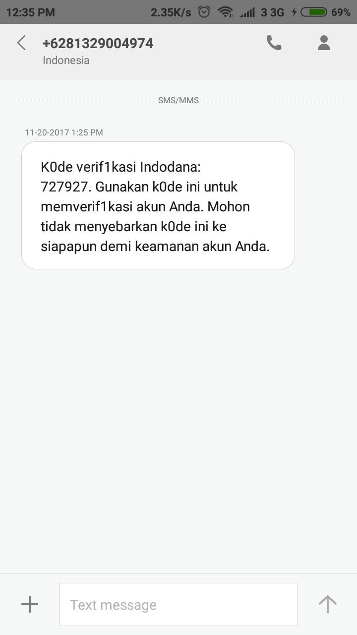 Verfikasi SMS Indodana