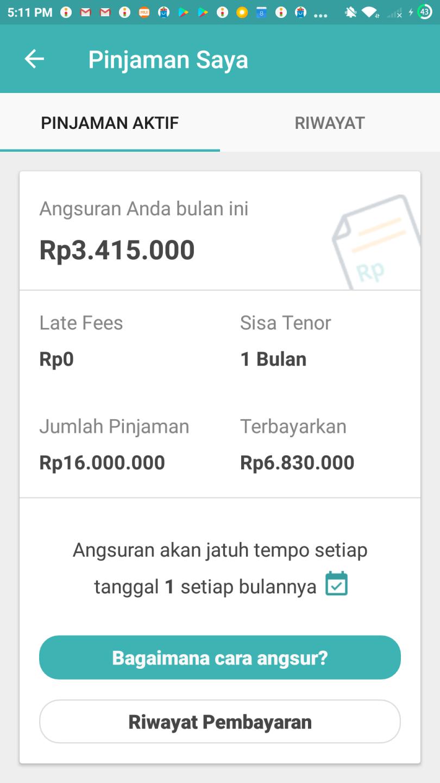 Status Pinjaman dan Biaya Indodana